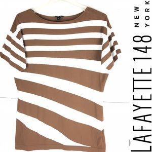 LAFAYETTE 148 New York Asymmetrically Striped Top